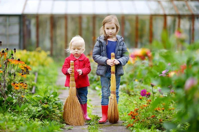 Download Dos Pequeñas Hermanas Que Se Divierten En Un Jardín Foto de archivo - Imagen de bebé, divertido: 42443400
