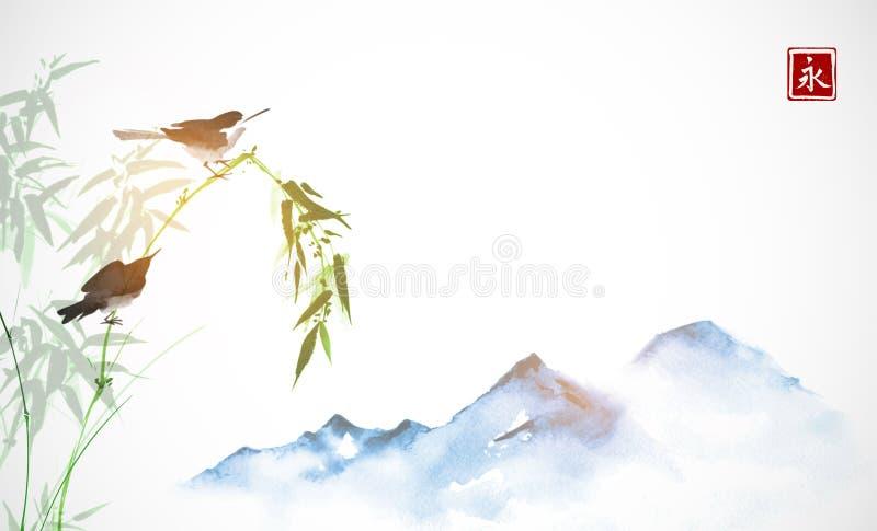 Dos pequeñas ramas del pájaro, de bambú y montañas azules lejanas Sumi-e oriental tradicional de la pintura de la tinta, u-pecado ilustración del vector