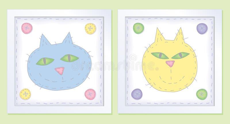 Dos pequeños gatos en colores pastel ilustración del vector