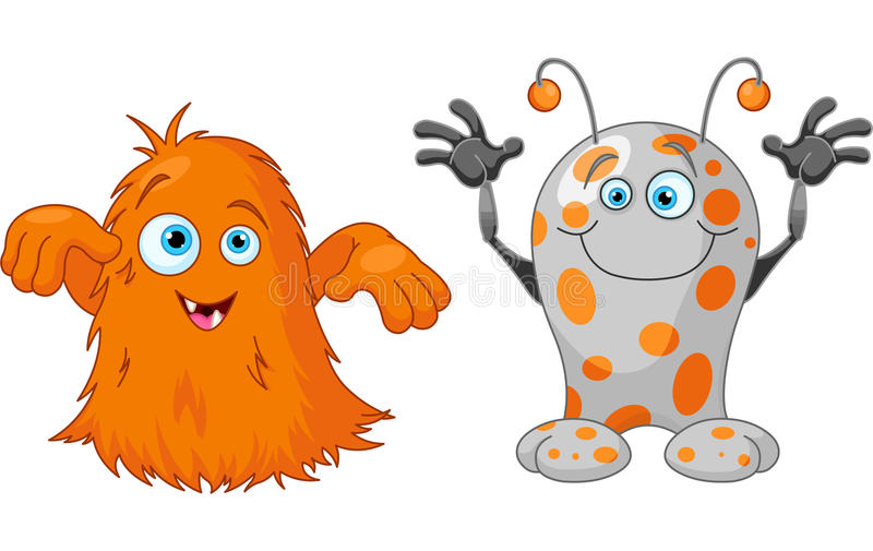 Dos pequeños monstruos lindos stock de ilustración
