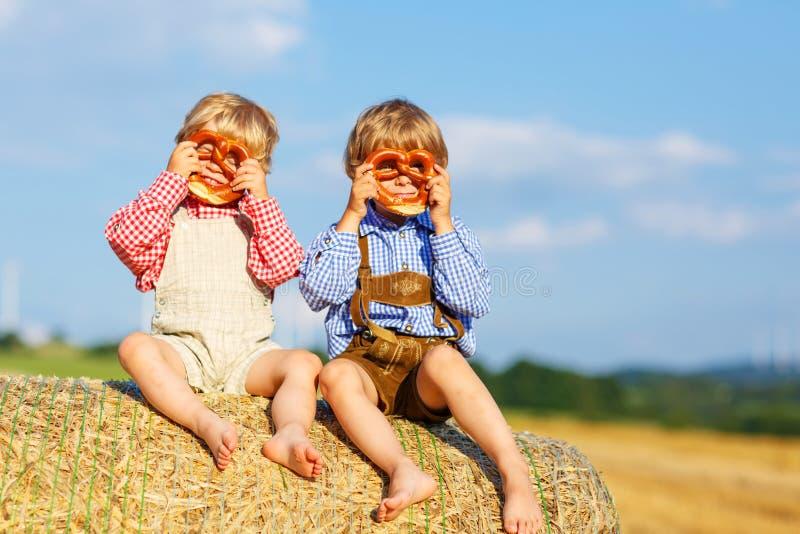 Dos pequeños muchachos y amigos del hermano que se sientan en pila del heno y el ea fotos de archivo libres de regalías