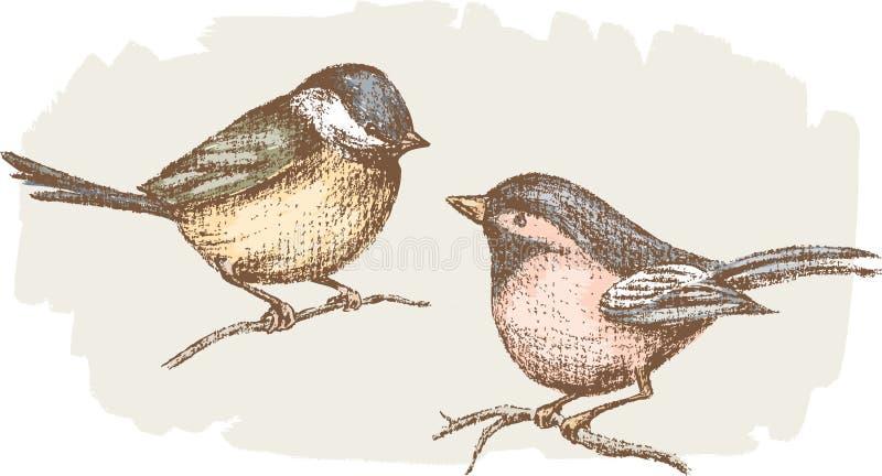 Dos pequeños pájaros stock de ilustración