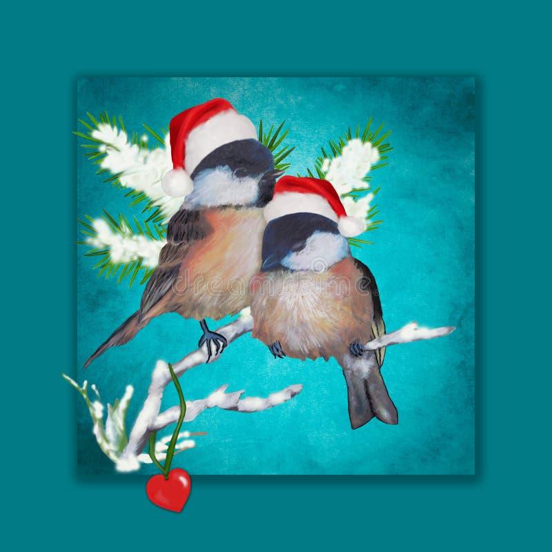 Dos pequeños pájaros en amor en la Navidad ilustración del vector