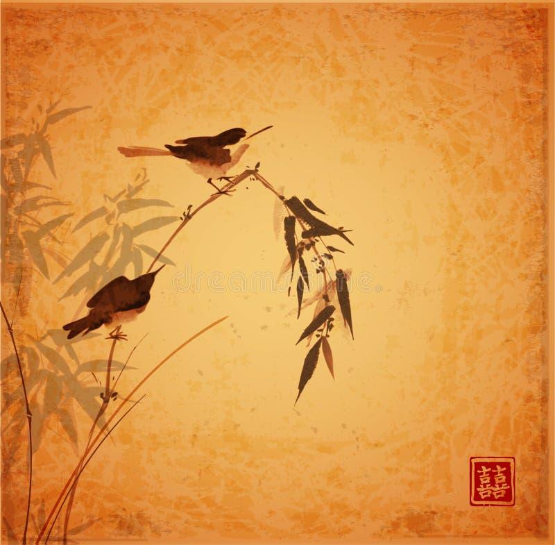 Dos pequeños pájaros que se sientan en la rama de bambú en fondo del vintage Sumi-e oriental tradicional de la pintura de la tint libre illustration