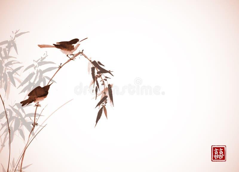 Dos pequeños pájaros que se sientan en la rama de bambú Sumi-e oriental tradicional de la pintura de la tinta, u-pecado, ir-hua e ilustración del vector