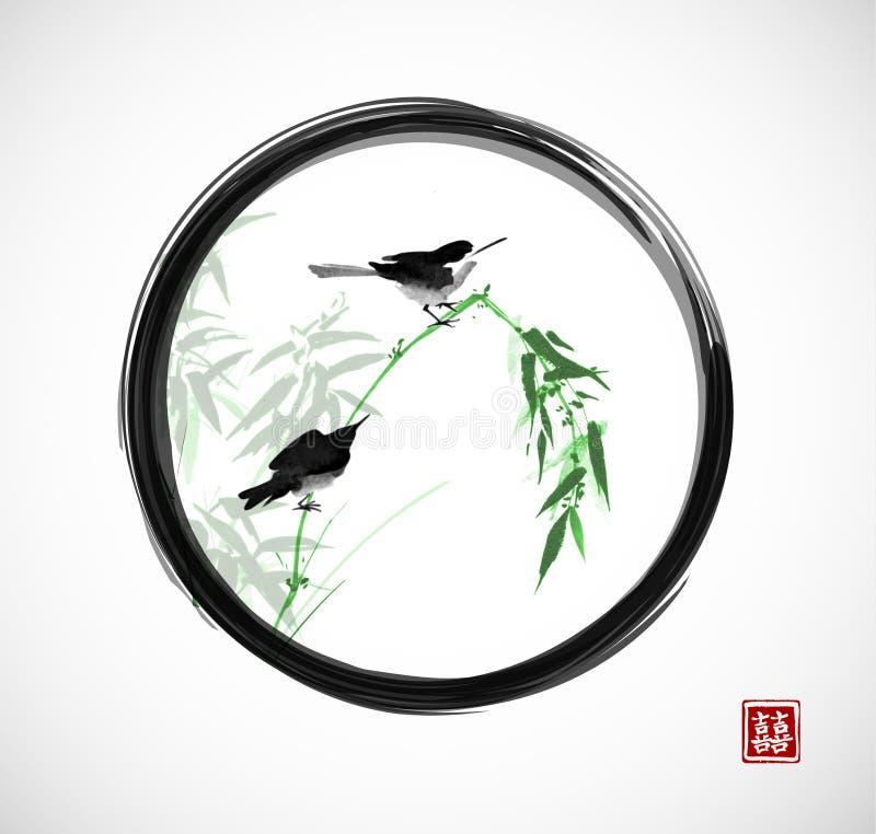 Dos pequeños pájaros que se sientan en la rama de bambú en zen negro del enso circundan El sumi-e oriental tradicional de la pint ilustración del vector