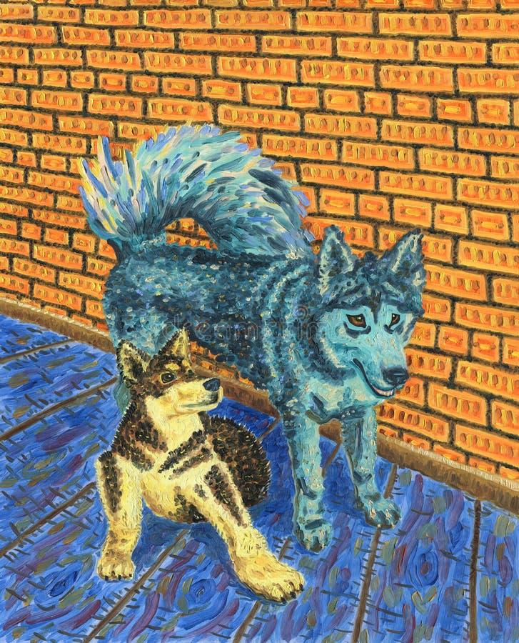 Dos perros divertidos que se sientan uno al lado del otro ilustración del vector
