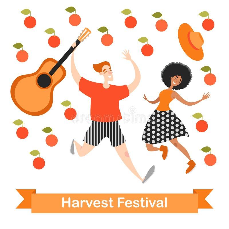 Dos personajes de dibujos animados divertidos están bailando en un festival de la cosecha Manzanas que caen ilustración del vector