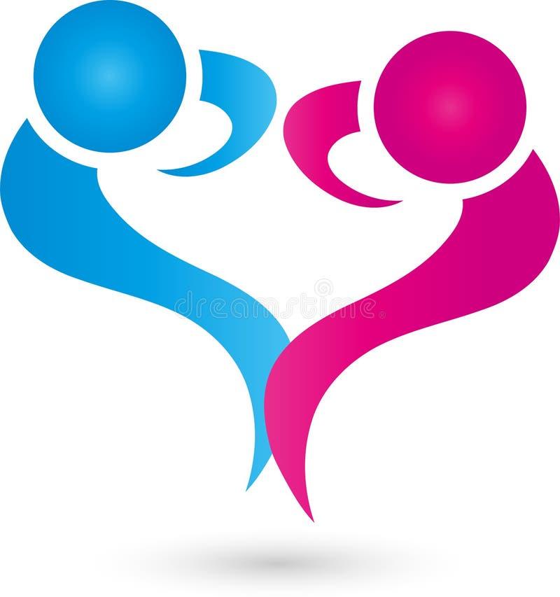 Dos personas como logotipo del corazón, de la gente y de los pares stock de ilustración