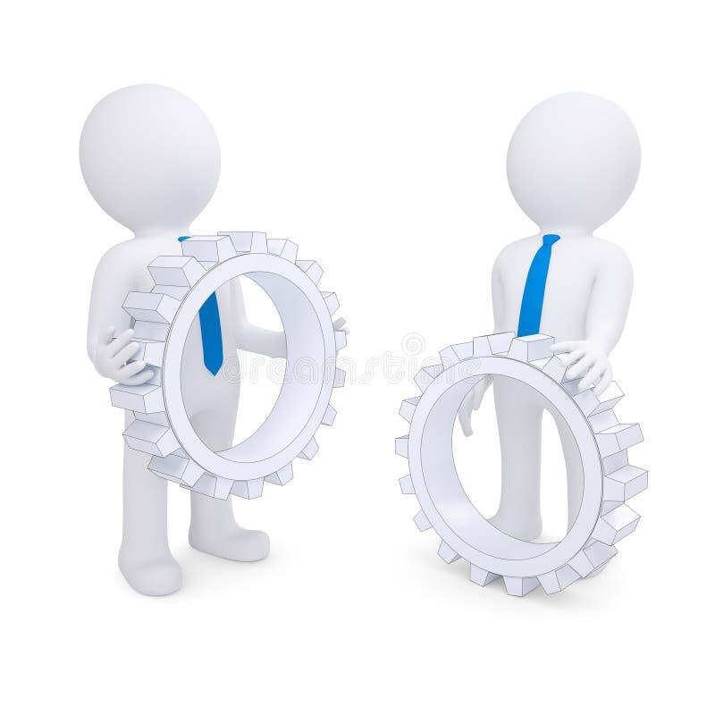 Dos personas con los engranajes libre illustration