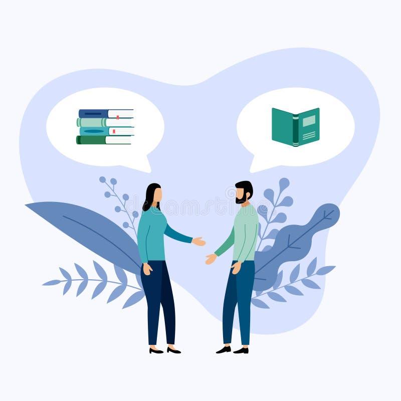 Dos personas hablan de los libros o de las revistas stock de ilustración