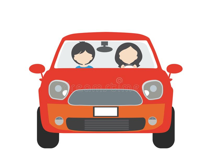 Dos personas, hombre y mujer, sentándose en un coche y conduciendo en vacat libre illustration
