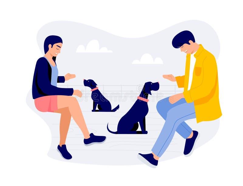 Dos personas jovenes con el ejemplo del vector de los perros stock de ilustración