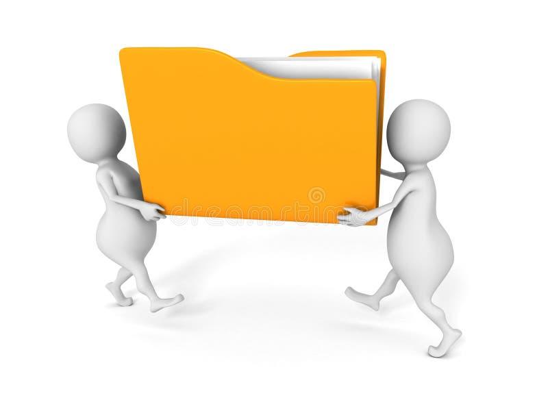 Dos personas llevan la carpeta de archivos amarilla del papel del documento de la oficina ilustración del vector