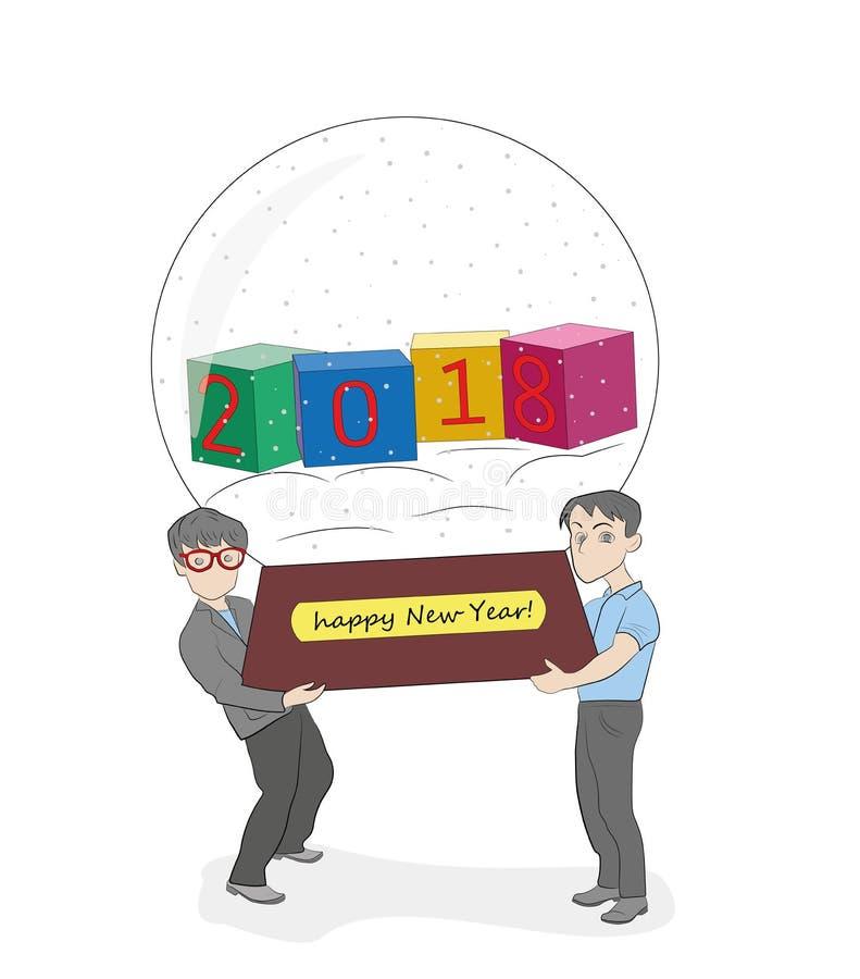 Dos personas llevan una bola de la nieve con 2018 Concepto de días de fiesta del Año Nuevo y de la Navidad Ilustración del vector libre illustration