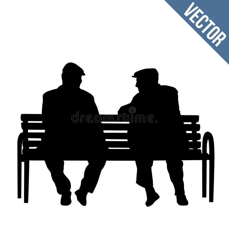 Dos personas mayores de las siluetas que se sientan en un banco de parque stock de ilustración