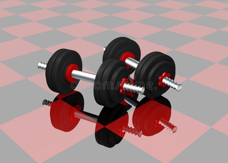Dos pesas de gimnasia en piso a cuadros negro rojo con la reflexión ilustración del vector