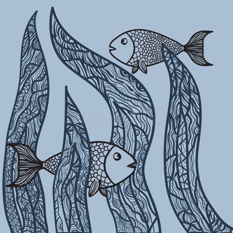 Dos Pescados En Mala Hierba Del Mar Página Antiesfuerza Adulta Del ...