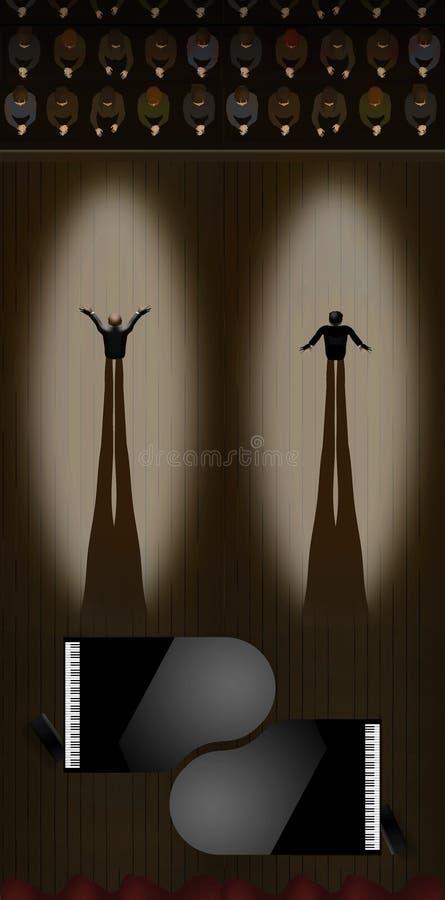 Dos pianistas en proyectores toman sus arcos como audiencia aplauden después de un funcionamiento del dúo en pianos de cola Se ve ilustración del vector