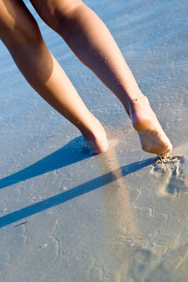 Dos piernas bronceadas de las mujeres que recorren en la playa fotos de archivo libres de regalías