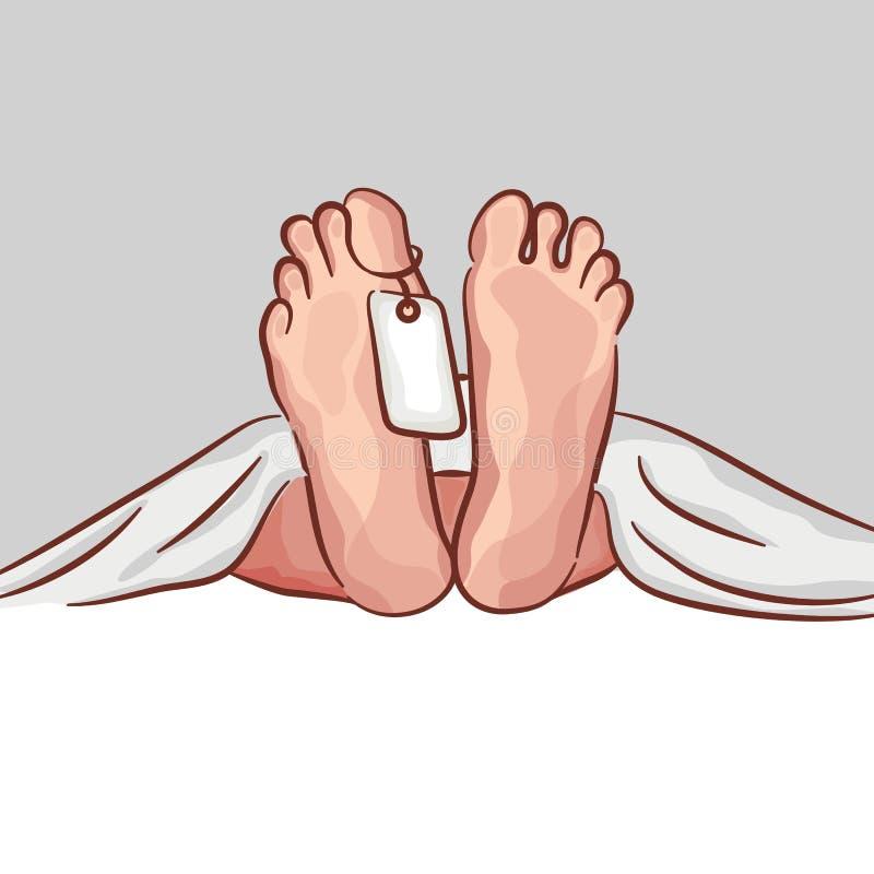 Dos pies de un cadáver, con una etiqueta de identificación Gráfico del vector crimen de la autopsia libre illustration