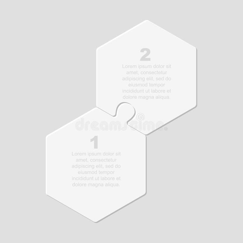 Dos piezas puzzle jigsaw hexagonal info gráfico libre illustration