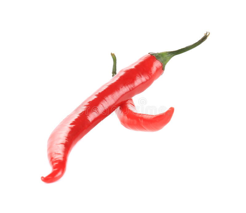 Dos pimientas de chile rojo imagen de archivo