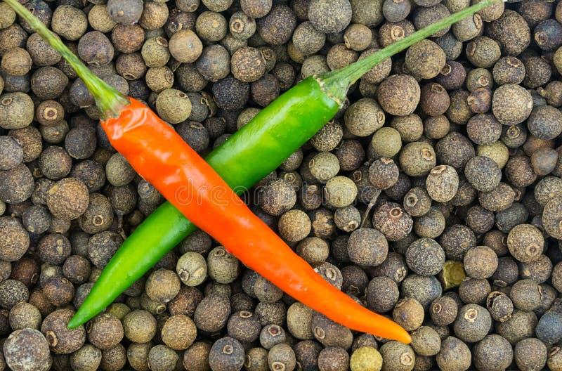 Dos pimientas verdes y pelo cruzado de la vaina roja en un fondo del grano de pimienta grande foto de archivo libre de regalías