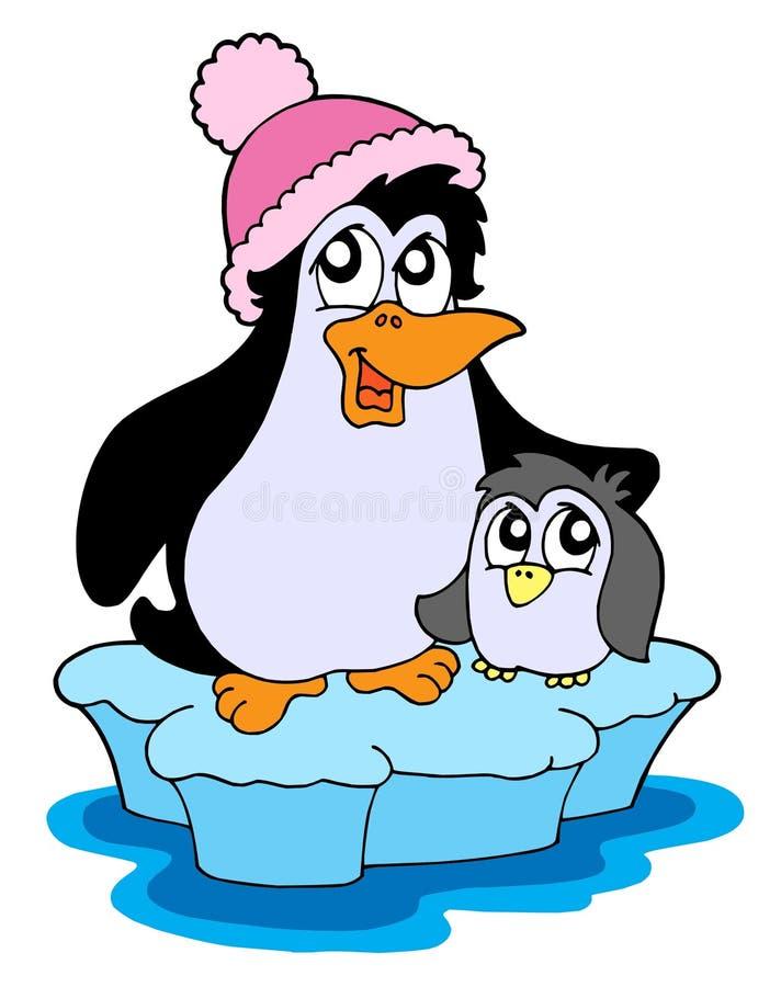 Dos pingüinos en la ilustración del vector del iceberg stock de ilustración