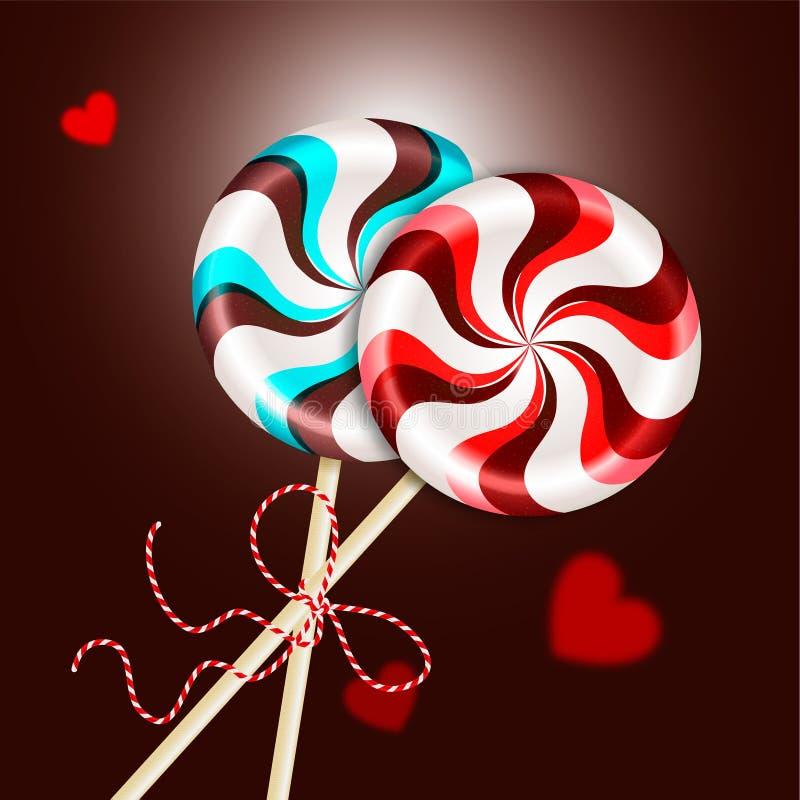Dos piruletas rojas rayadas redondas del marrón azul con el cordón decorativo y corazones borrosos Caramelo de la baya y de choco libre illustration