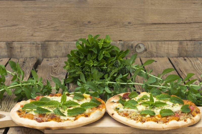 Dos pizzas hechas en casa con queso y la menta fresca imágenes de archivo libres de regalías