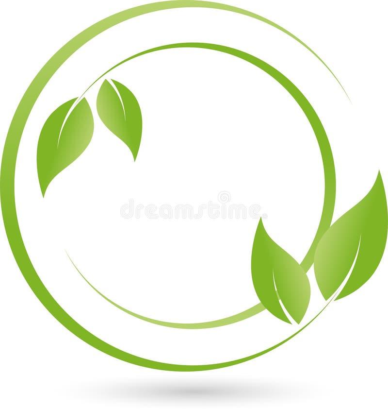 Dos plantas, hojas, salud y logotipo naturopathic stock de ilustración