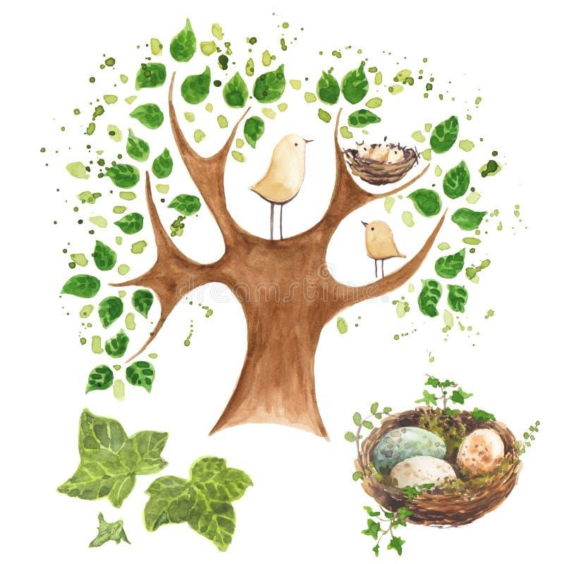 Dos pocos pájaros en un árbol con las hojas de una jerarquía y el sistema de la jerarquía libre illustration