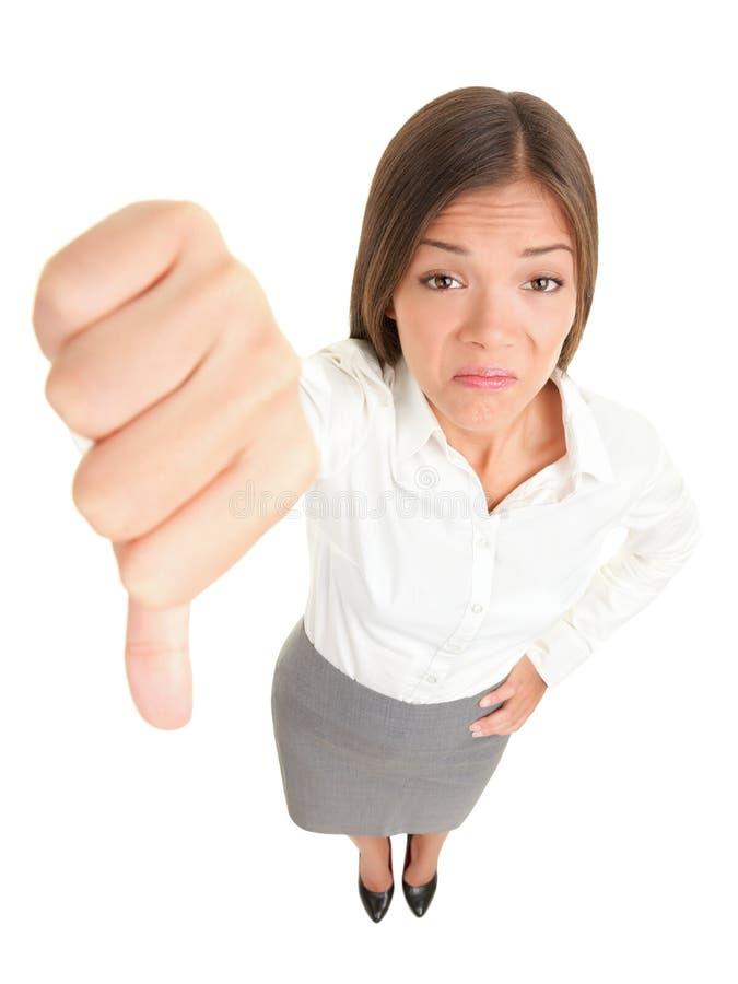 Dos polegares mulher para baixo fotos de stock royalty free