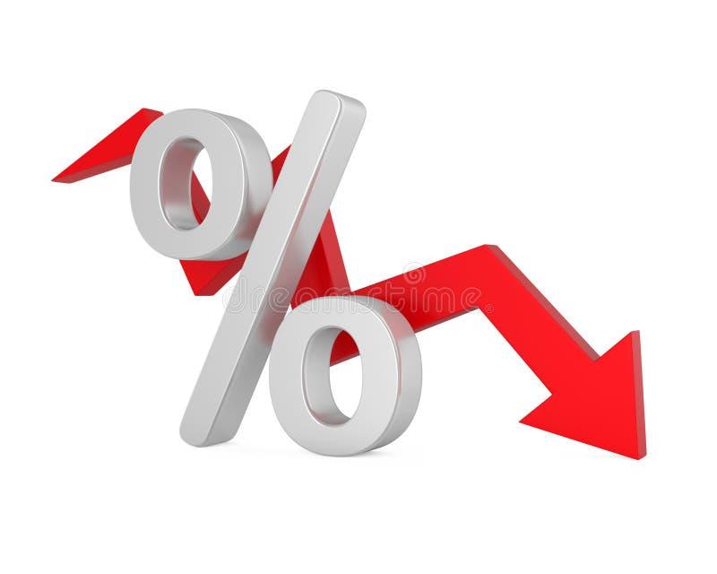 Dos por cento seta para baixo ilustração do vetor