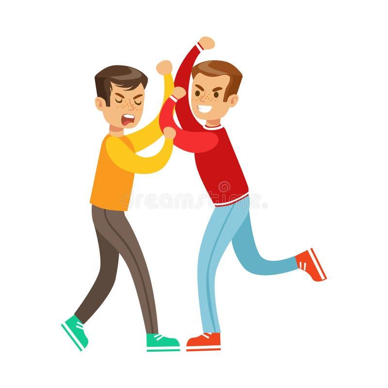 Dos posiciones de la lucha del puño de los muchachos, matón agresivo en el top rojo de la manga larga que lucha a otro niño ilustración del vector
