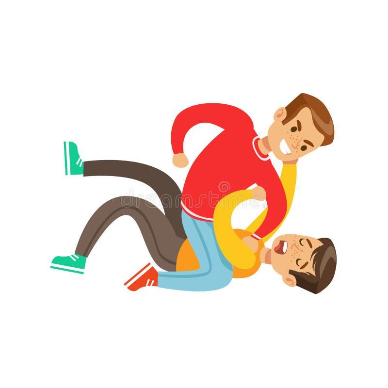 Dos posiciones de la lucha del puño de los muchachos, matón agresivo en el top rojo de la manga larga que lucha a otro niño que l stock de ilustración
