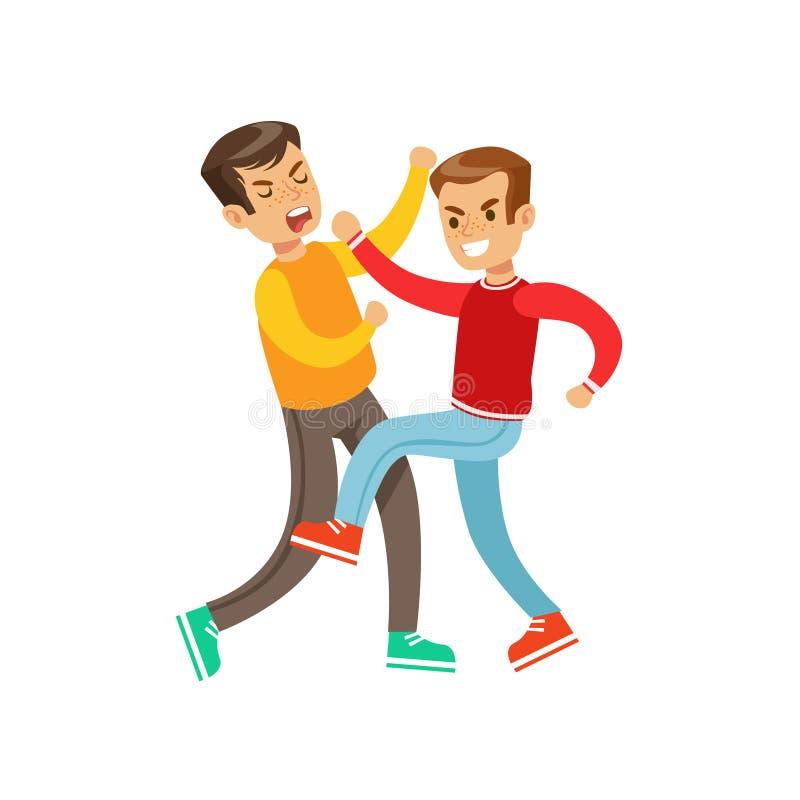 Dos posiciones de la lucha del puño de los muchachos, matón agresivo en el top rojo de la manga larga que lucha a otro niño que s libre illustration