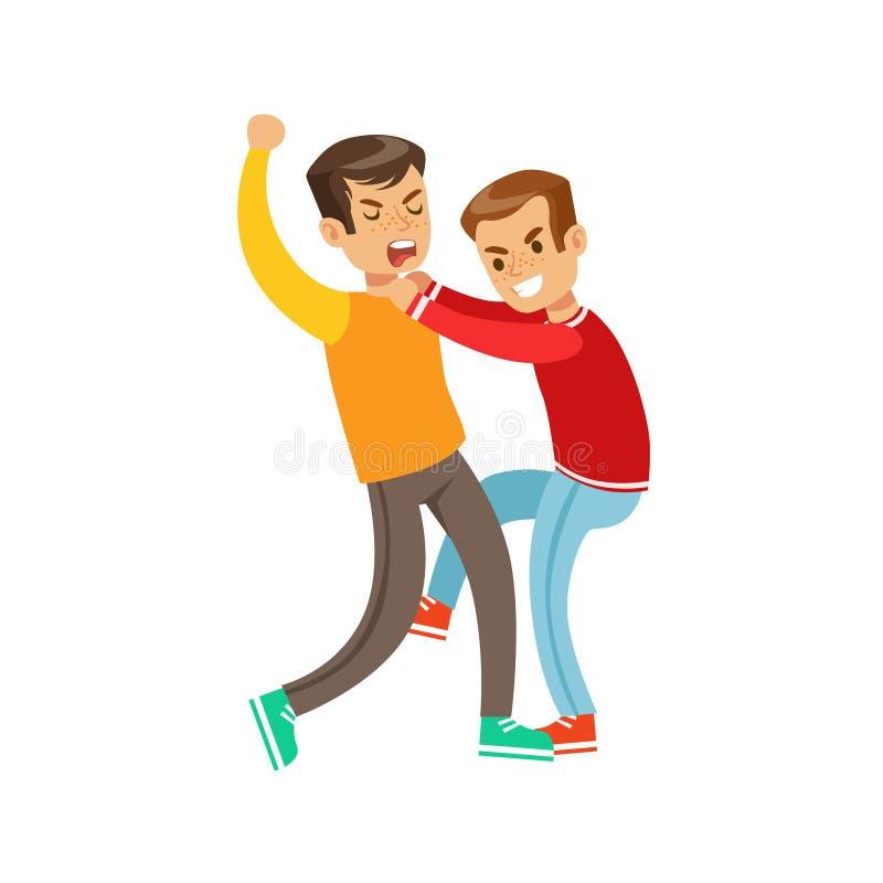 Dos posiciones de la lucha del puño de los muchachos, matón agresivo en el top rojo de la manga larga que lucha a otro niño que g stock de ilustración