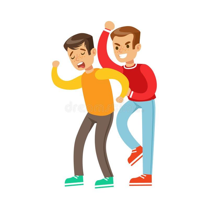 Dos posiciones de la lucha del puño de los muchachos, matón agresivo en el top rojo de la manga larga que lucha a otro niño que e libre illustration
