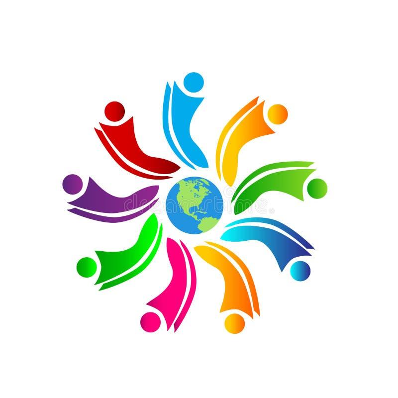 Dos povos da equipe do trabalho junto da união dos povos coloridos dos povos do círculo do símbolo do trabalho nove pessoas saudá ilustração do vetor
