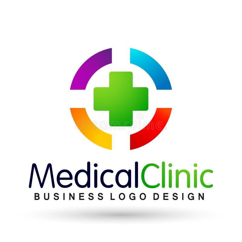 Dos povos médicos da clínica do cuidado da família da saúde do mundo do globo ícone saudável do projeto do logotipo dos cuidados  ilustração stock