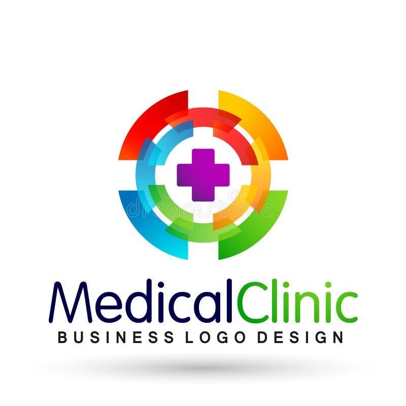 Dos povos médicos da clínica do cuidado da família da saúde do mundo do globo ícone saudável do projeto do logotipo dos cuidados  ilustração royalty free
