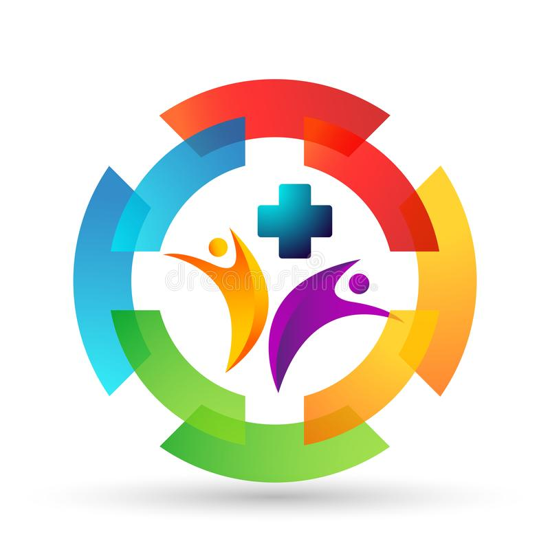 Dos povos médicos da clínica do cuidado da família da saúde do mundo do globo ícone saudável do projeto do logotipo dos cuidados  ilustração do vetor