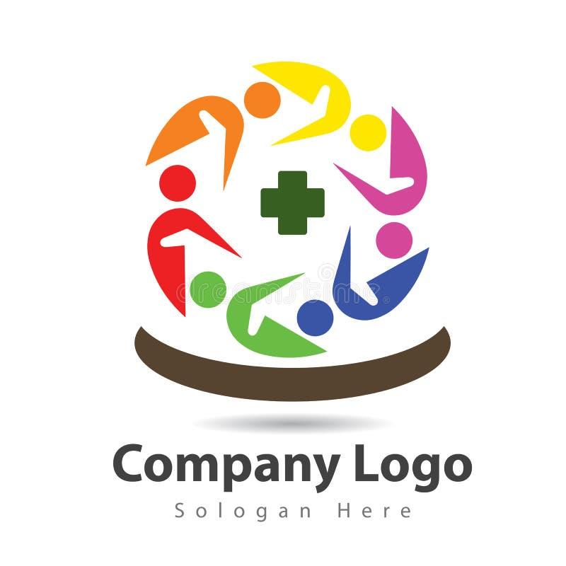 Dos povos projeto do logotipo dos cuidados médicos do trabalho da equipe junto ilustração royalty free