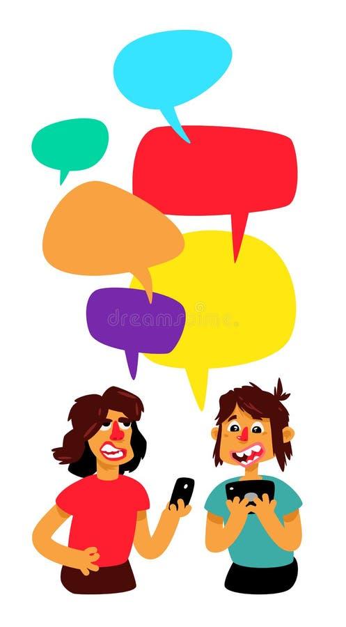 Dos pranayas con las burbujas cómicas se discuten Vector Hombres que charlan en la charla Ejemplo en el estilo de la historieta L stock de ilustración