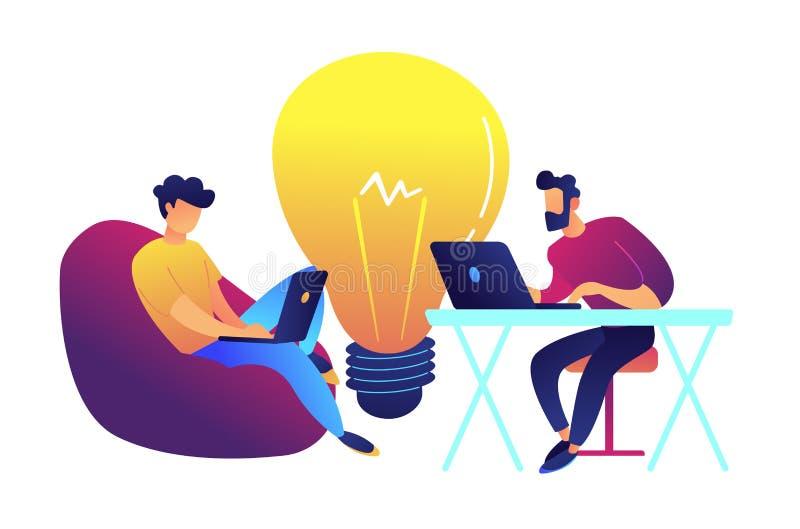 Dos programadores que trabajan con el ordenador portátil y el bulbo grande vector el ejemplo libre illustration