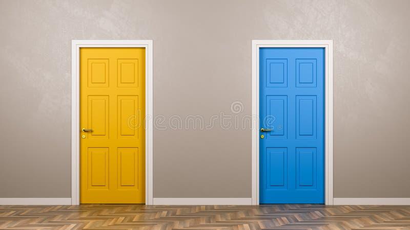 Dos puertas cerradas en frente en el cuarto ilustración del vector