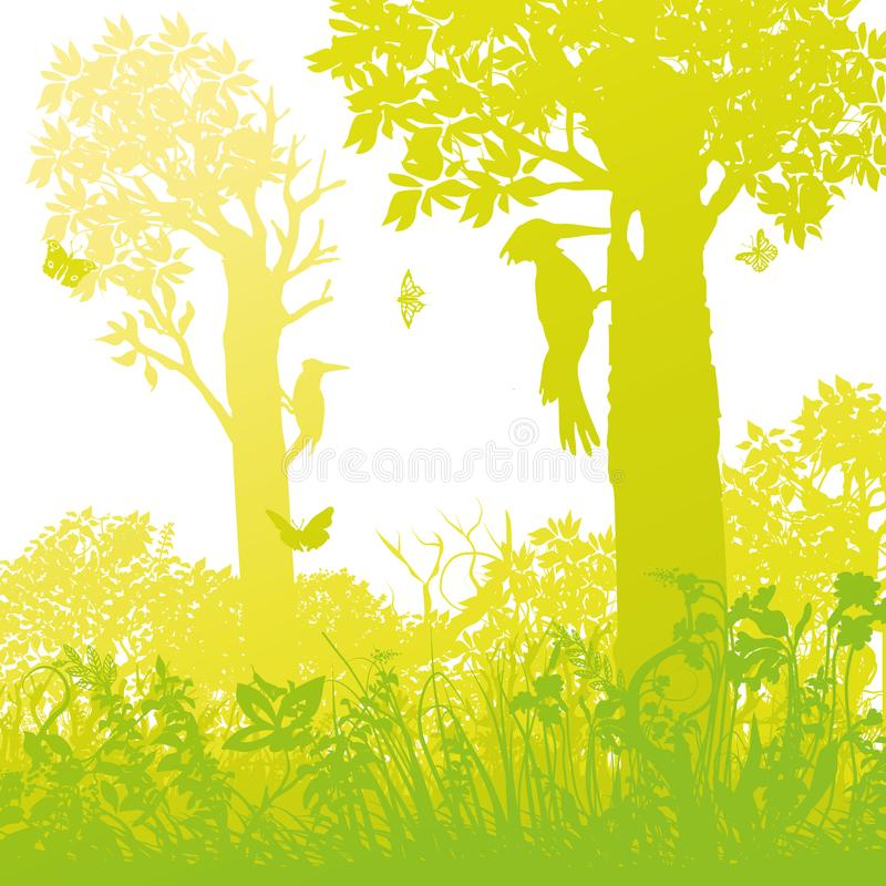 Dos pulsaciones de corriente en el bosque están golpeando abajo árboles libre illustration