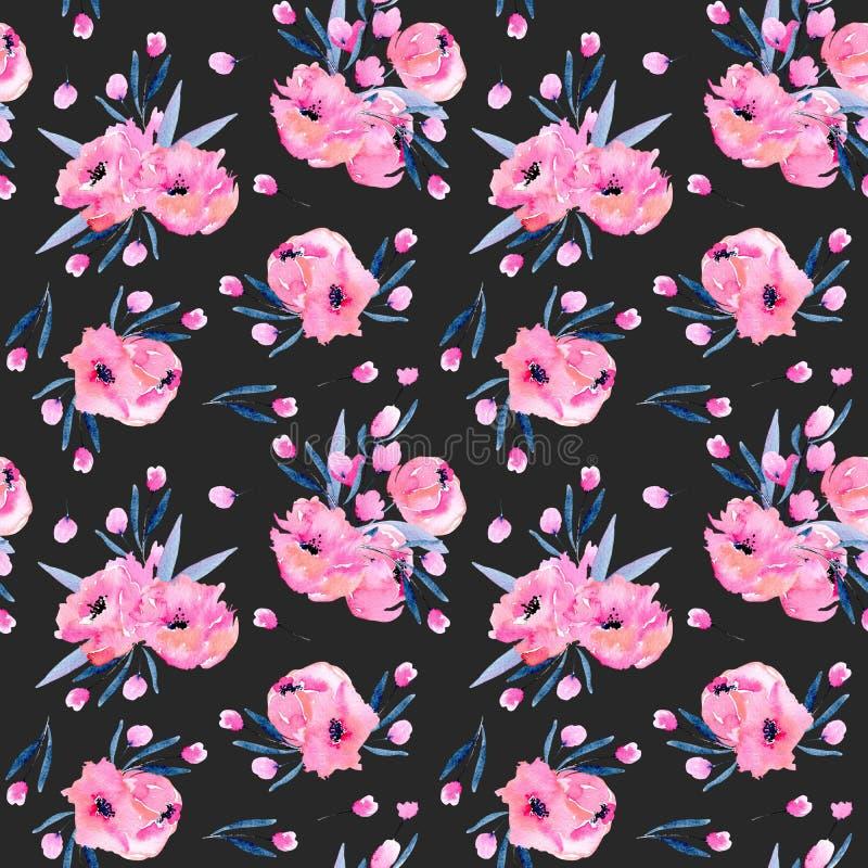 Dos ramalhetes cor-de-rosa das papoilas da aquarela teste padrão sem emenda ilustração stock